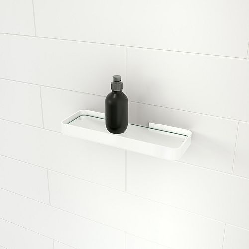 MAAX 13.6L x 4.6W Rectangular Temperred Glass and Metal Shelf in Glossy White