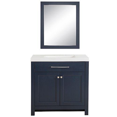 Meuble-lavabo Camdyn, 92,71 cm l x 47,62 cm P, bleu, revêtement comptoir similimarbre blanc, miroir