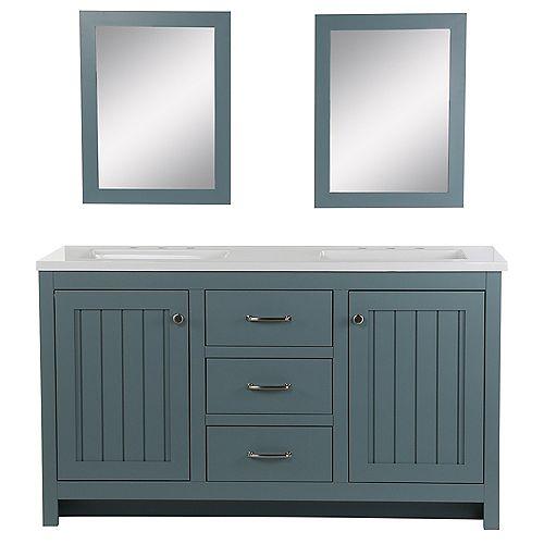 Meuble-lavabo Harrisford, 1,54 m l x 55,88 cm P, gris clair, revêtement comptoir similim., miroirs