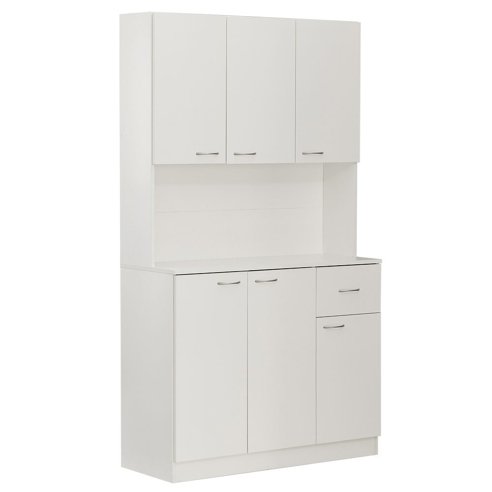 Kitchen Pantry Storage Cabinet with Drawer, Doors and Shelves in White