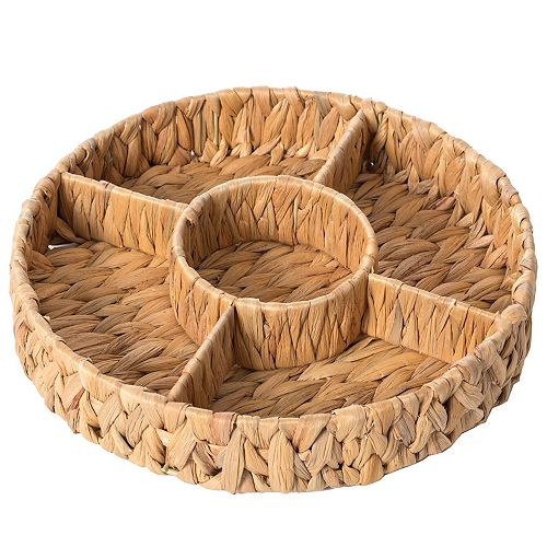 Decorative Woven Water Hyacinth Round Severing Tray, 5 Compartment Organizer