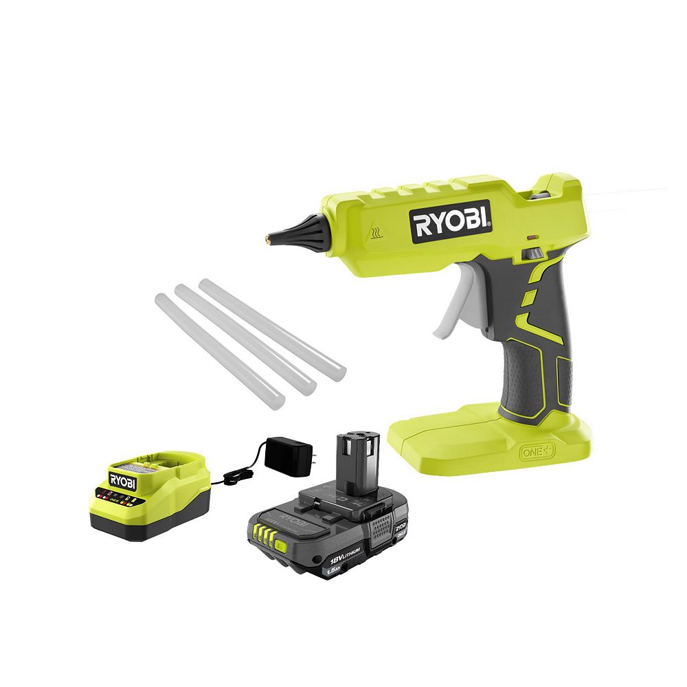 RYOBI 18V ONE+ Cordless Full Size Glue Gun Kit with 1.5 Ah Battery, Charger, and (3) Glue Sticks