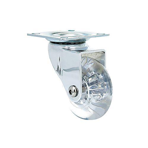 1-3/8 inch Designer Caster Clear Polyurethane 2 per pkg, 4 pkgs per box