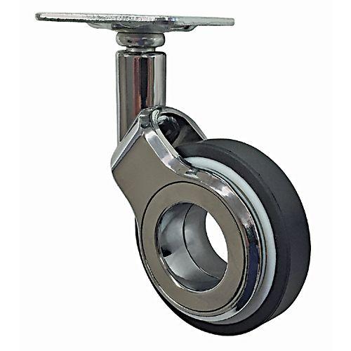 9 inch Designer Caster Chrome Spokes Soft Rubber Tread, 4 per box