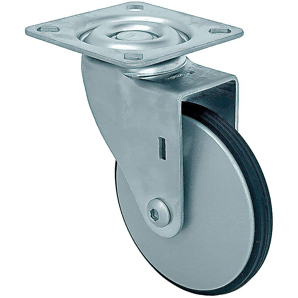 Shepherd Hardware 10 inch Designer Caster Chrome Spokes Soft Rubber Tread, 4 per box