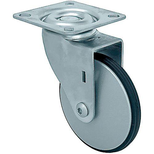 10 inch Designer Caster Chrome Spokes Soft Rubber Tread, 4 per box