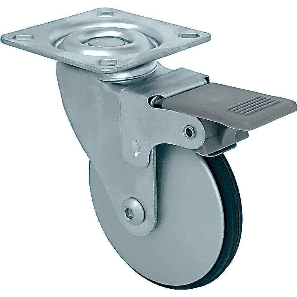 Shepherd Hardware 12 inch Designer Caster Chrome Spokes Soft Rubber Tread, 4 per box