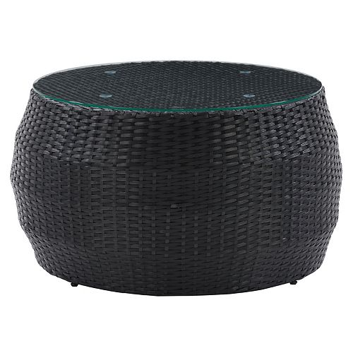CorLiving Parksville Black Rattan Round Coffee Table