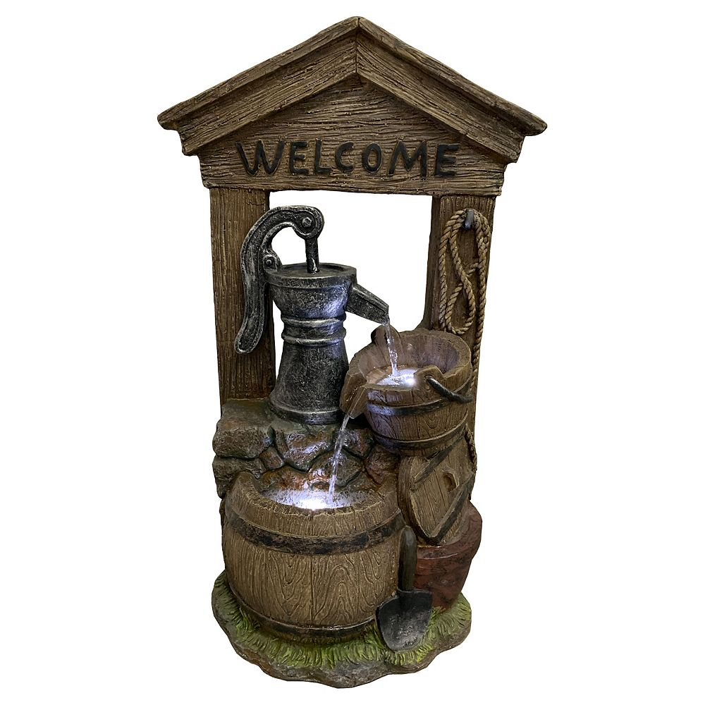 Angelo Décor Village Oasis Fountain, includes energy efficient pump and LED accent lighting