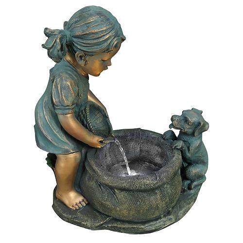 Fontaine fille avec chiot, comprend une pompe écoénergétique et lumières DEL décoratives