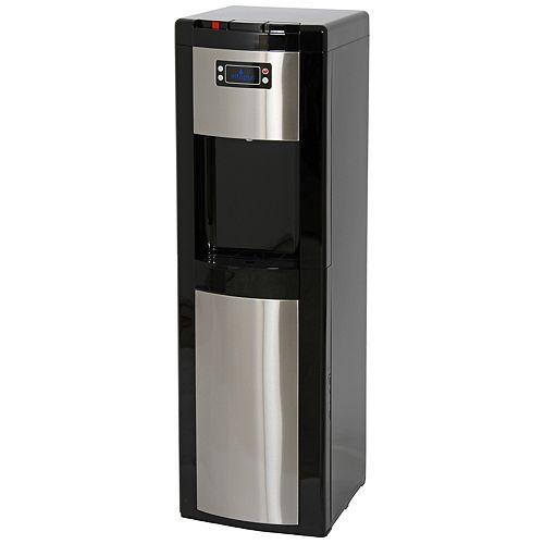 Distributeur deau à chargement par le bas (chaude, temp. ambiante et froide) noir/acier inoxydable