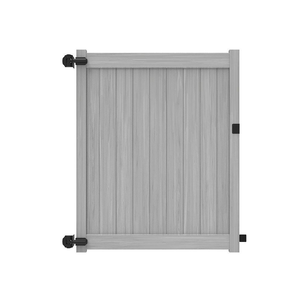 Barrette Barrière intimité 6X58'' avec traverses de 5.5'' pour clôture de vinyle gris