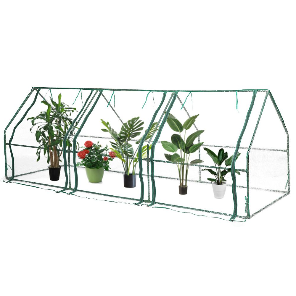 Gardenised Green Outdoor Waterproof Portable Plant Greenhouse with 2 Clear Zippered Windows, Large