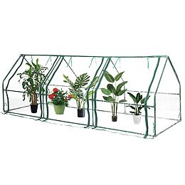 Green Outdoor Waterproof Portable Plant Greenhouse with 2 Clear Zippered Windows, Large