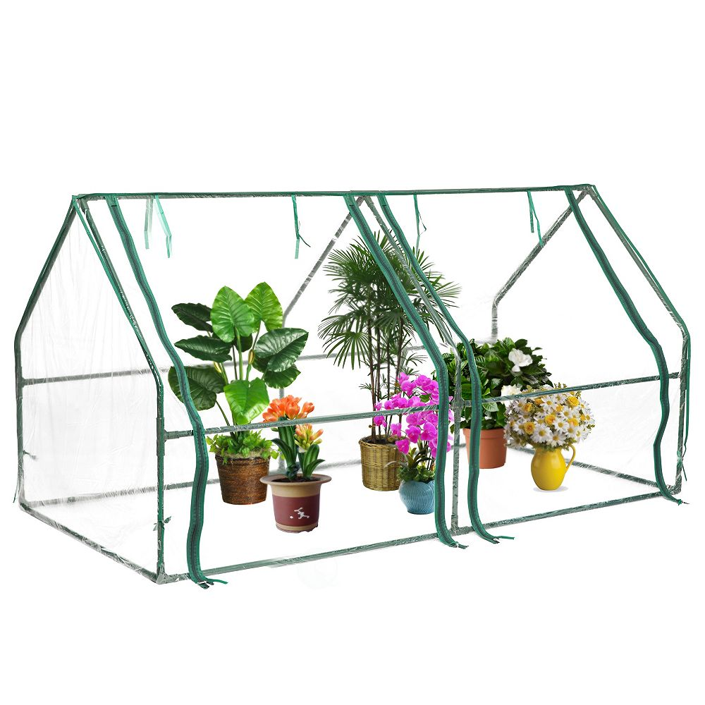 Gardenised Green Outdoor Waterproof Portable Plant Greenhouse with 2 Clear Zippered Windows, Medium