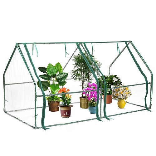 Green Outdoor Waterproof Portable Plant Greenhouse with 2 Clear Zippered Windows, Medium