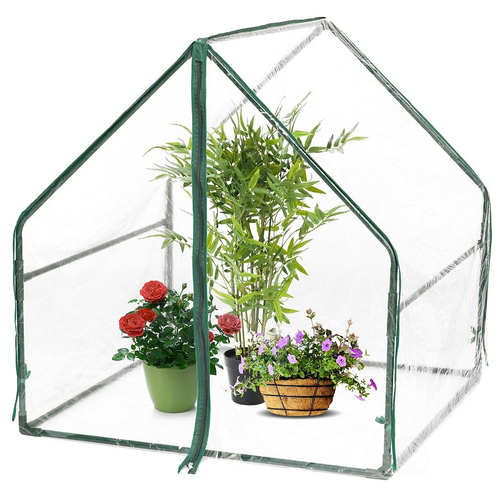 Gardenised Green Outdoor Waterproof Portable Plant Greenhouse with 2 Clear Zippered Windows, Small