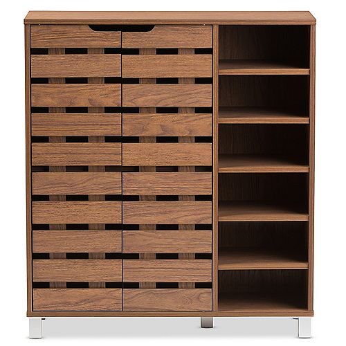 Shirley 12-Shelf Shoe Cabinet in Walnut Brown
