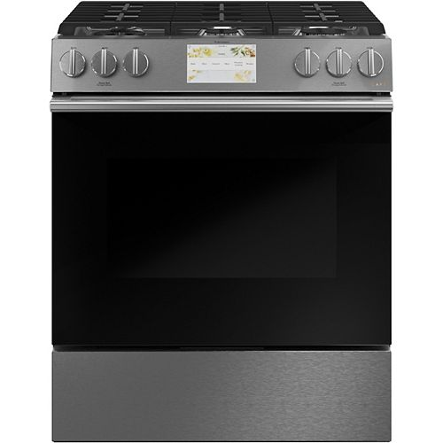 30-inch Smart Slide-In, Dual-Fuel Range with Convection Oven in Platinum Glass
