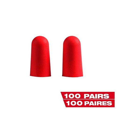 Bouchons d'oreille jetables rouges scellés individuellement (100 paires)