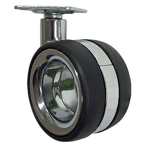 3 inch Designer Caster Twin Wheel Hub Free Polyurethane, 4 per box