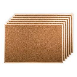 Boardin de bulletin de liège de 6 pièces avec cadre en bois, 36 x 24 pouces, beige