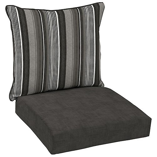 Multi Stripe 2-Piece Deep Seating Lounge Chair Cushion