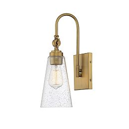 1-Light Warm Brass Sconce with Clear Seeded Glass