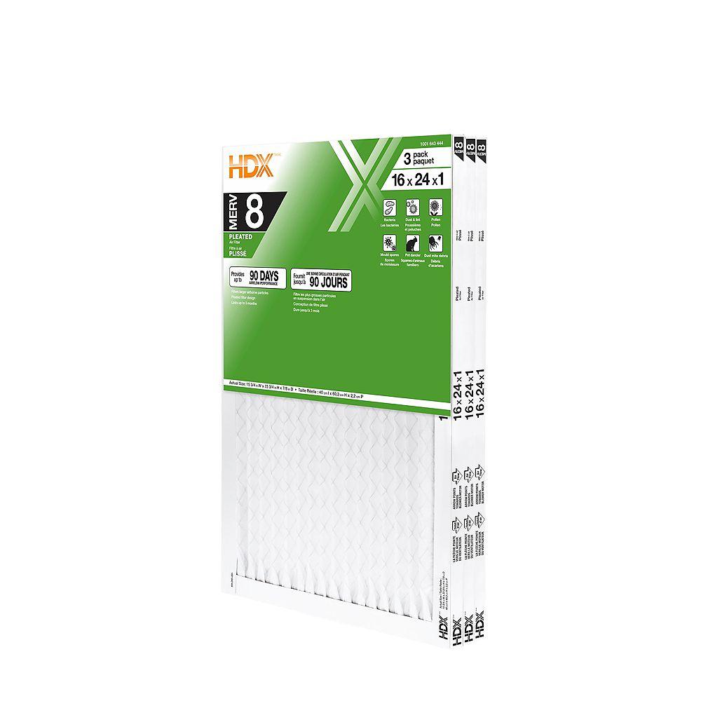 HDX 16-inch x 24-inch x 1-inch MERV 8 Air Filter 12 Pack