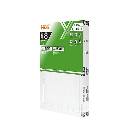 16-inch x 25-inch x 1-inch MERV 8 Air Filter 12 Pack