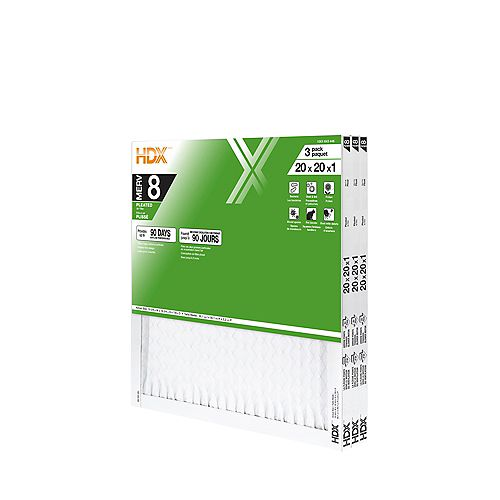 20-inch x 20-inch x 1-inch MERV 8 Air Filter 12 Pack