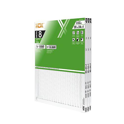 20-inch x 24-inch x 1-inch MERV 8 Air Filter 12 Pack