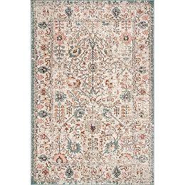 Vintage Floral Lenore Beige 6 ft. 7 in. x 9 ft. Indoor Area Rug