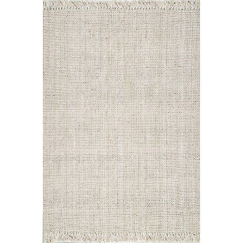 Hand Woven Chunky Loop Jute Off White 7 ft. 6 in. x 10 ft. 6 in. Indoor Area Rug