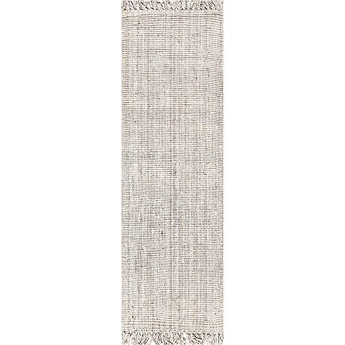 Hand Woven Chunky Loop Jute Off White 2 ft. 6 in. x 12 ft. Indoor Runner Rug