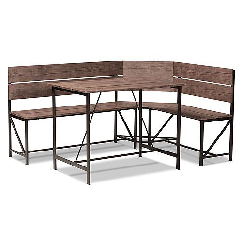 Marston 2-Piece Dining Nook Set in Brown and Black