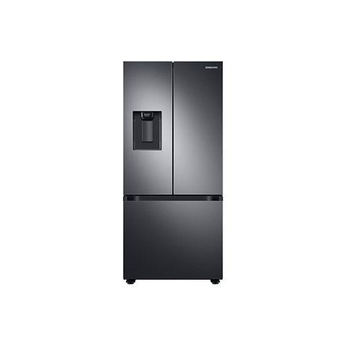 30 pouces W 21,8 pi.cu. Réfrigérateur à porte française avec distributeur de glaçons et d'eau en acier inoxydable noir