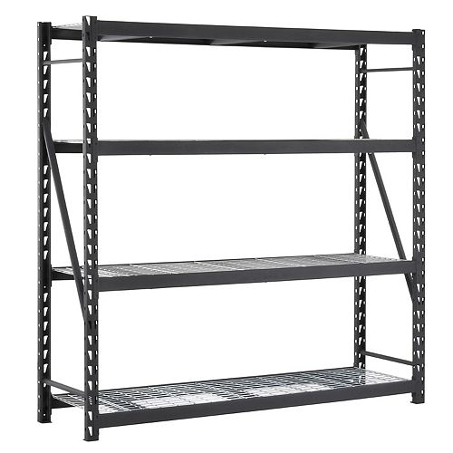Black 4-Tier Heavy Duty Industrial Welded Steel Garage Shelving Unit (84 In. W X 84 In. H X 24 In.D)