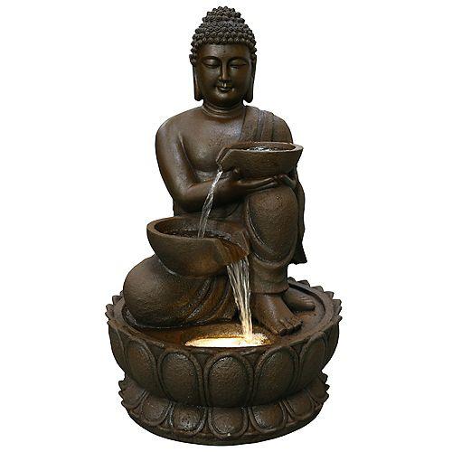 Fontaine Bouddha 82 cm, comprend une pompe écoénergétique et lumières DEL décoratives