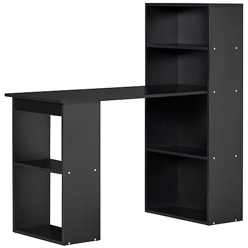 """HOMCOM 47"""" Modern Compact Small Space Computer Office Desk with Bookshelf Combo Black"""