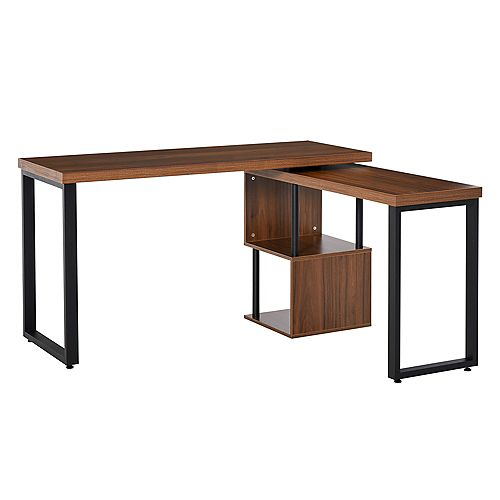 Corner Rotating L-Shaped Office Table Computer Desk with Storage Shelf Brown