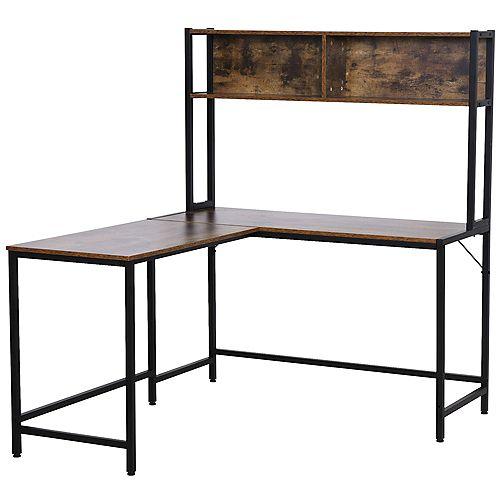 Computer Desk w/ Hutch L-Shape Corner Table PC Laptop Desk Workstation, Brown