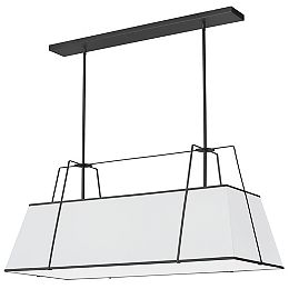 Trapezoid 4 Light Black Incandescent Chandelier with White Shade