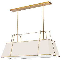 Trapezoid 4 Light Gold Incandescent Chandelier with Cream Shade