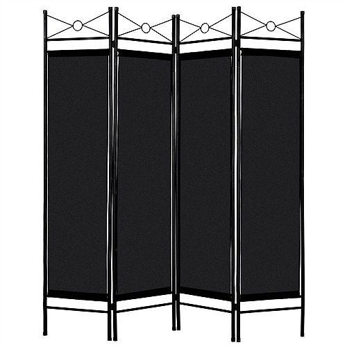 Paravent Interieur Séparateur de Pièce Fer 4 Panneaux Matériau de Polyester 180 x 160cm noir