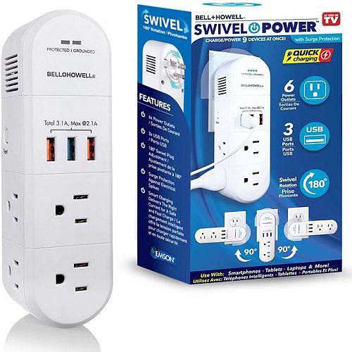 Swivel Power, protection contre les surtensions  6 prises et 3 de sorties USB