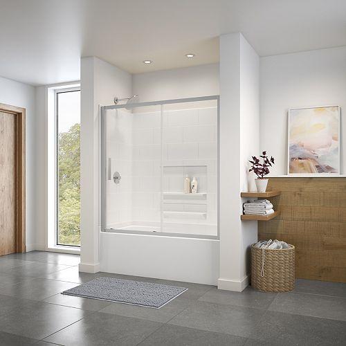 Connect 55.5 à 57 L x 57H porte de bain-douche coulissante rectangulaire, fini chrome et verre clair
