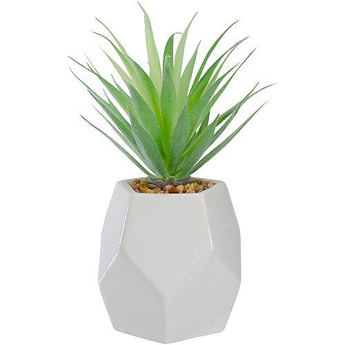 """7.5 """"L'herbe d'épée artificielle verte dans un pot géométrique blanc"""