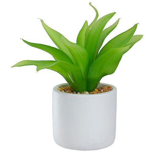 """Plante aloèse artificielle verte de 8 """"dans un pot blanc"""