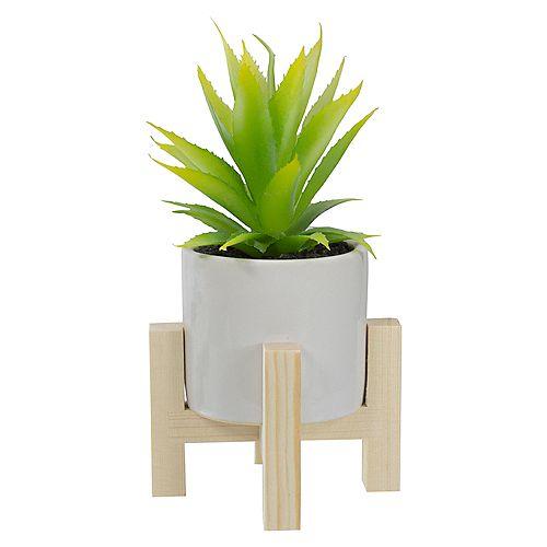 """8.25 """"Plante d'agave artificielle verte en pot avec support en bois"""